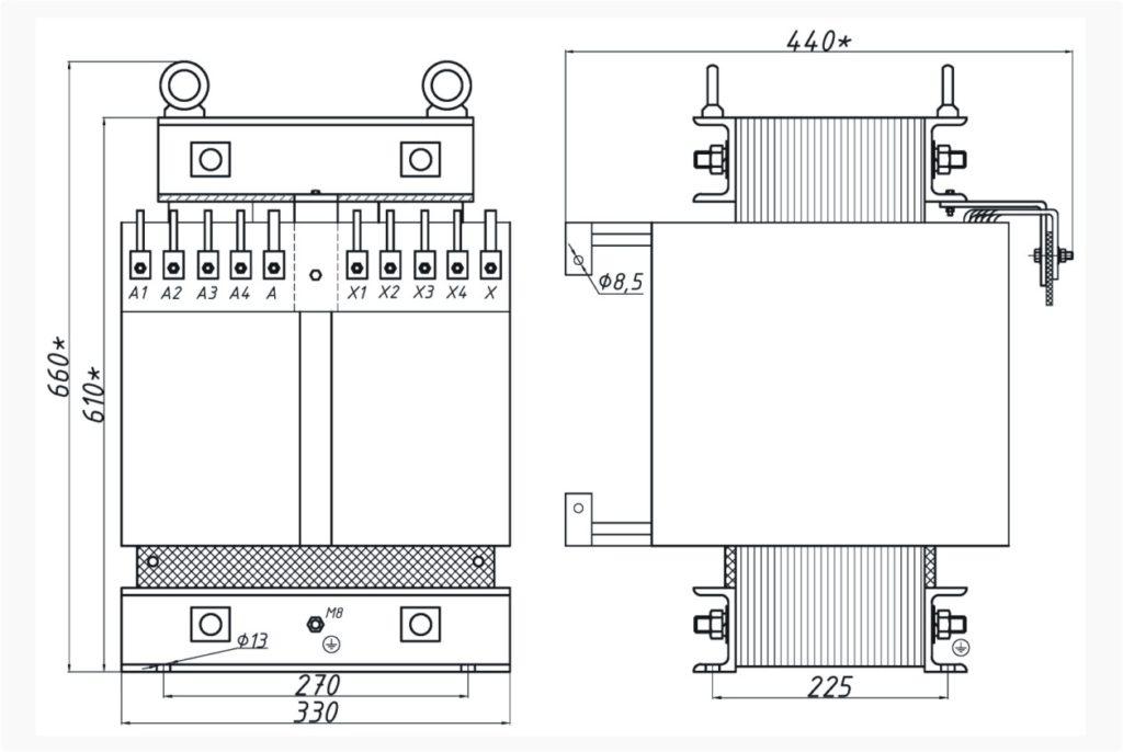 Однофазный печной трансформатор ОСЭ 25-380/310
