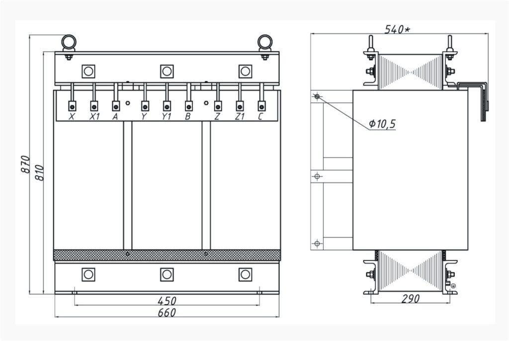 Трехфазный печной трансформатор ТСЭ 125-380/53