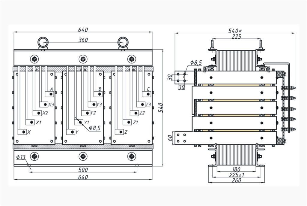 Трехфазный печной трансформатор ТСЭ 63-380/17
