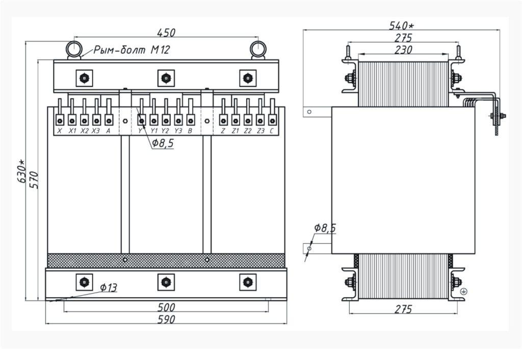 Трехфазный печной трансформатор ТСЭ 63-380/43