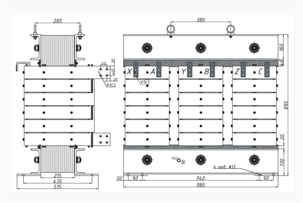 Трехфазный печной трансформатор ТСЭ 250-380/87