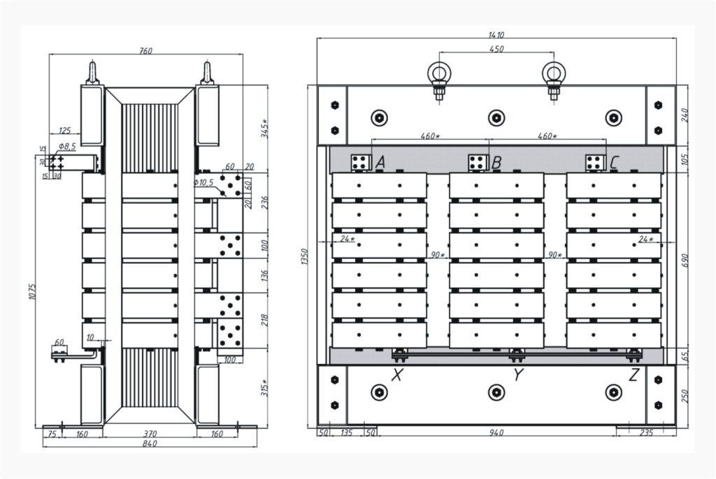 Трехфазный печной трансформатор ТСЭ 630-380/44