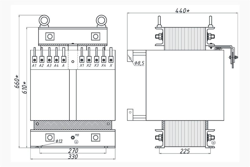Однофазный печной трансформатор ОСЭ 25-380/100