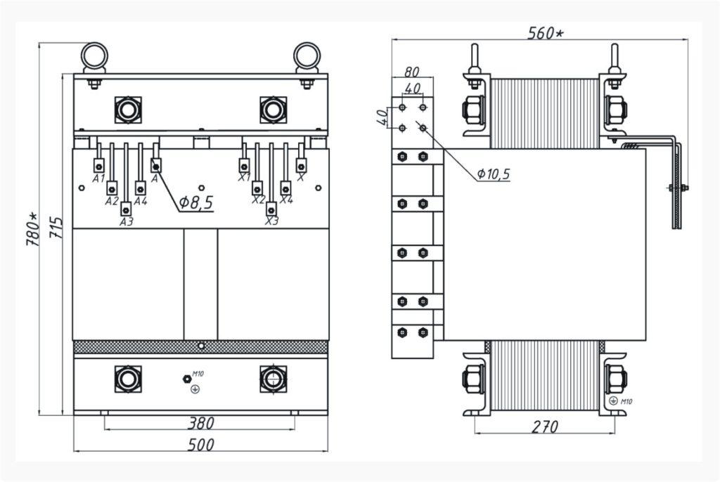 Однофазный печной трансформатор ОСЭ 63-380/34