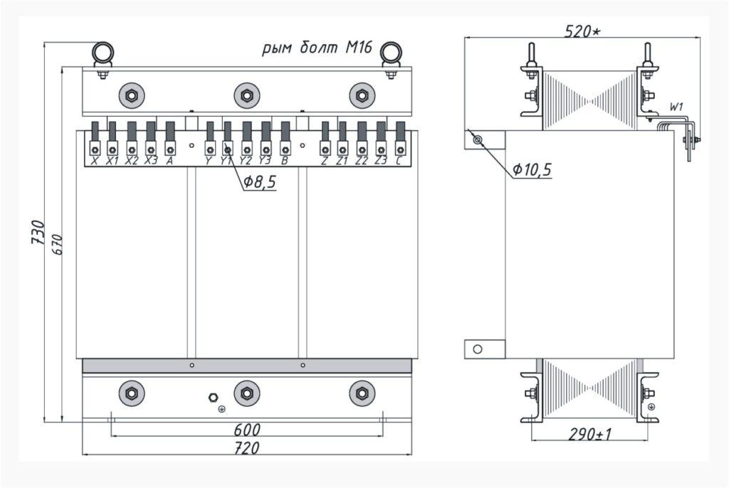 Трехфазный печной трансформатор ТСЭ 100-380/65