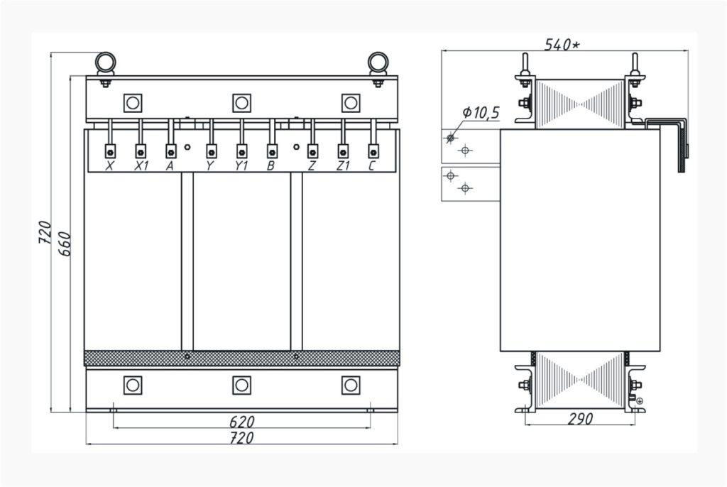 Трехфазный печной трансформатор ТСЭ 125-380/64