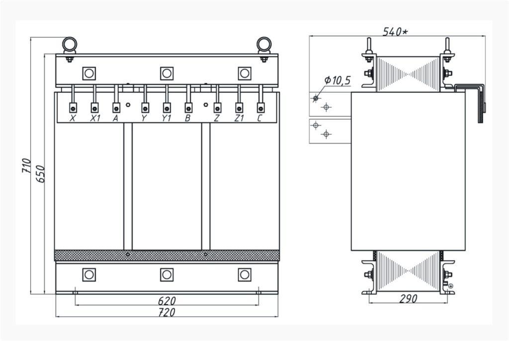 Трехфазный печной трансформатор ТСЭ 125-380/69