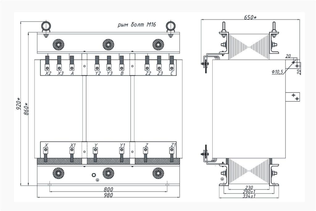 Трехфазный печной трансформатор ТСЭ 250-380/150