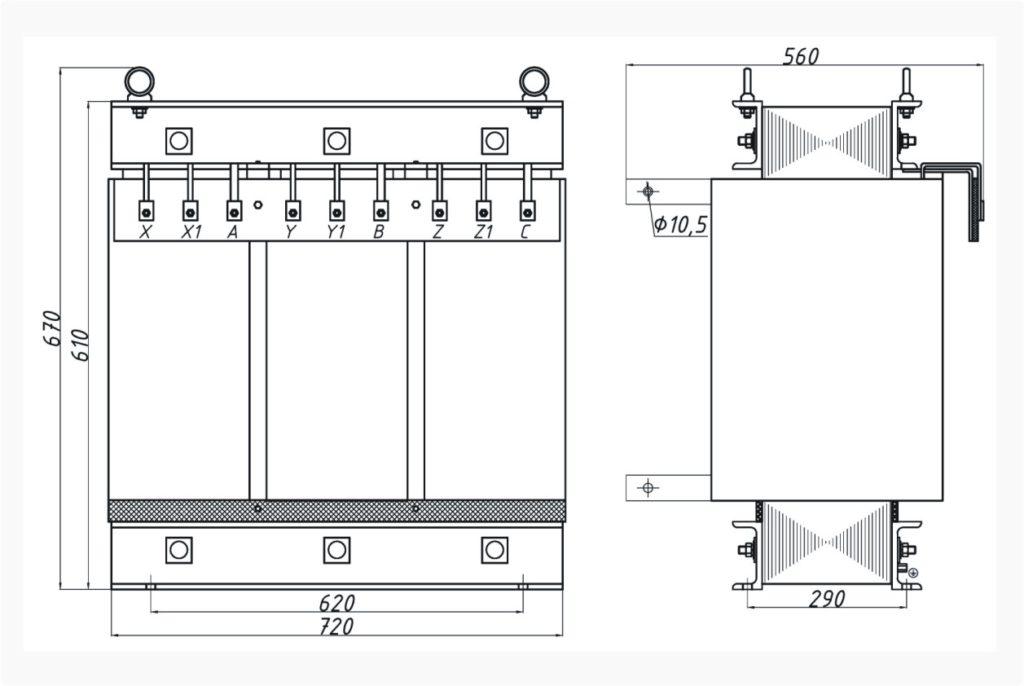 Трехфазный печной трансформатор ТСЭ 80-380/57