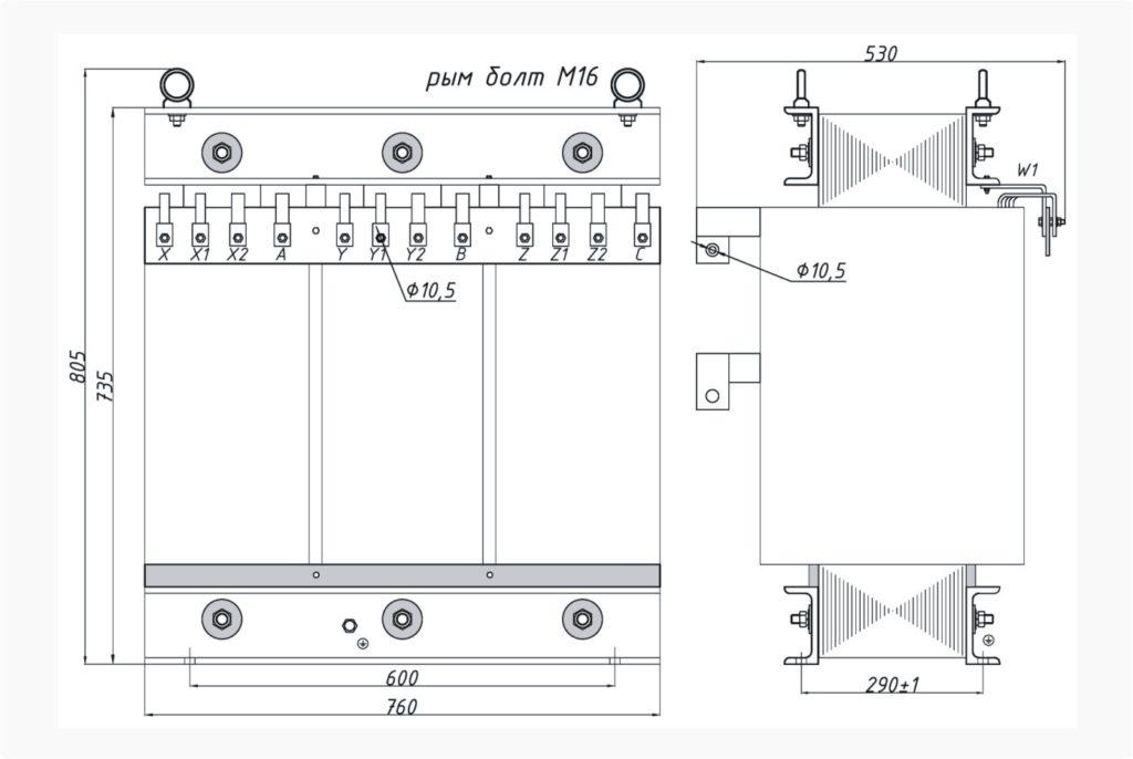 Трехфазный печной трансформатор ТСЭ 130-380/300-270-230-174